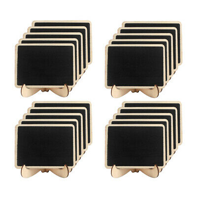 100×Mini Wooden Blackboard Chalkboard with Stand Message Notice Sign Table Board