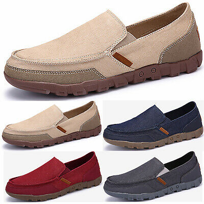 Mens Solid Mocassin Loafers Flat Breathable Walking Slip On Canvas Casual Shoes