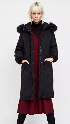 f2954e0e2 ZARA WOMEN PUFFER Down Coat Jacket Black Size XS With Detachable ...