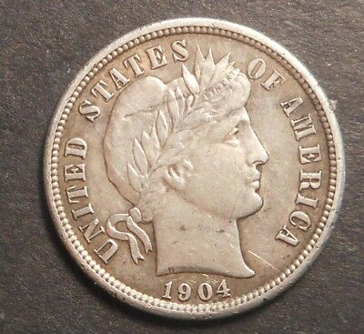 United States US 1904  S  Barber  Dime silver Coin Semi Key High grade XF