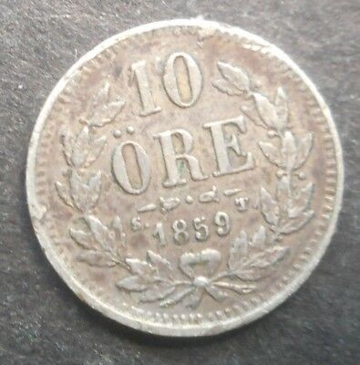 Sweden 1859 10  Ore Silver Coin Nice Better detail