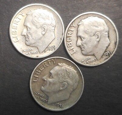 United States US 1951 D 1957 D 1959  Roosevelt  Dime silver Coin better grade