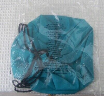 Avon Drawstring Make up Bag Blue Lays flat easy to see contents New in pack (AC)