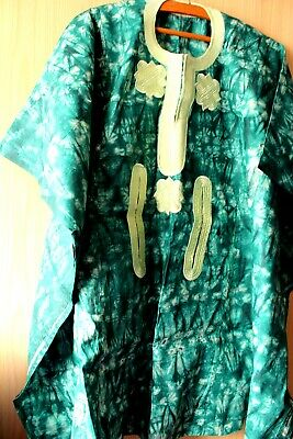 African Classic Top For Men ~ Brand New ~ Green Mix ~ Fast P&P!