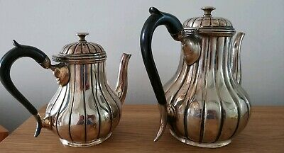 'G' LTD SILVER PLATED FLUTED COFFEE & TEA POT SET - No. 1 & No. 6 Of SET.