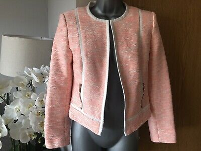 Gorgeous Marks And Spencer M&S Coral Mix Summer Blazer Size 8