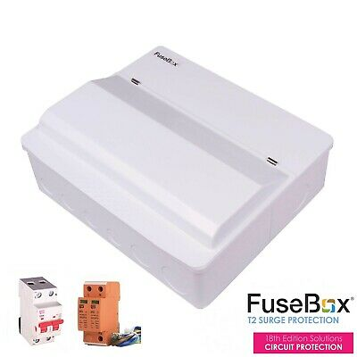 Fusebox Spd 10 Way 100A Mains Switch Surge Protected Consumer Unit + 8 Rcbo's