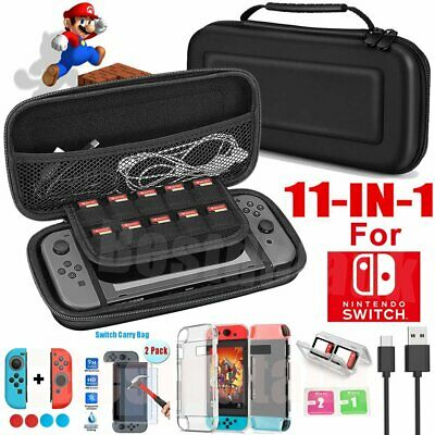 For Nintendo Switch 11in1 Carrying Travel Case Bag+Screen Protector+Handle Cover