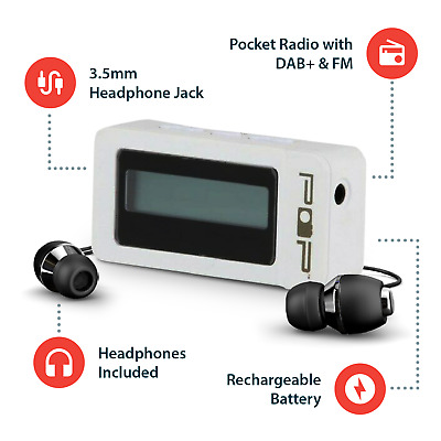 DAB/+ FM Pocket Radio USB Rechargable incl Headphones White Personal Digital