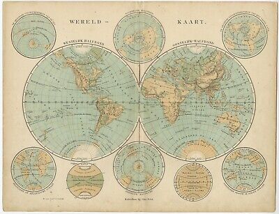 Antique World Map by Petri (c.1873)