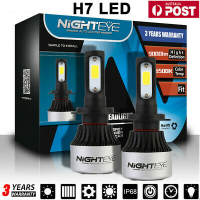 NIGHTEYE H7 Car LED Headlight 72W 9000LM Globes Bulbs 6500K White Beam Lamps