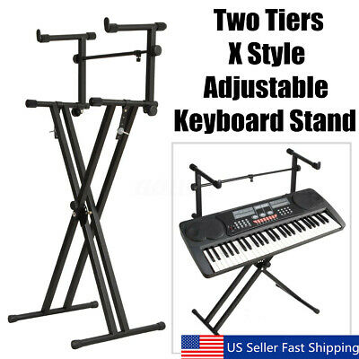 "Black Dual Keyboard Piano 2-Tier ""X"" Stand Electric Organ Rack Height"