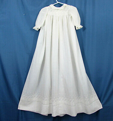 """Antique long baby dress - white work lace on cotton lawn - 37"""" long - Victorian"""