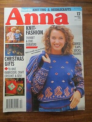 Anna Burda Knitting Needlecrafts Magazine CHRISTMAS 1990 Vintage Retro Patterns