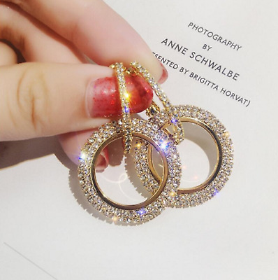 Large Crystal Hoop Earrings - 3 colours  Rose Gold, Gold, Silver. Wedding Cruise