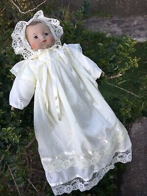 Beautiful Porcelain Bisque Baby Doll Cream Gown 34cm Brown Eyes Perfect Cond