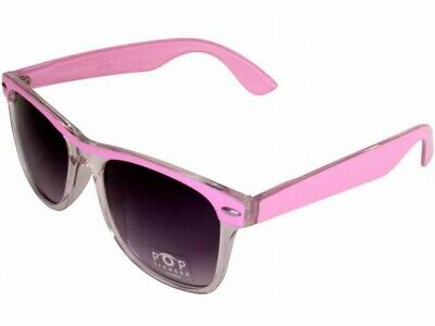 Womens Neon Tetra Classic Horn Rim Sunglasses Light Pink and Clear Frame Gray