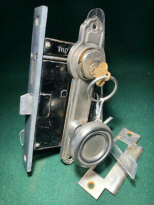 "RUSSWIN #11224 ENTRY MORTISE LOCK SET - VERY NICE w/CYLINDER 7 7/8"" FACE (12035)"