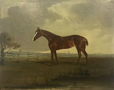 19th Century antique oil painting oak panel study of Race Horse in a landscape
