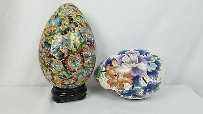Pair Of LARGE Vintage Chinese Cloisonne Eggs