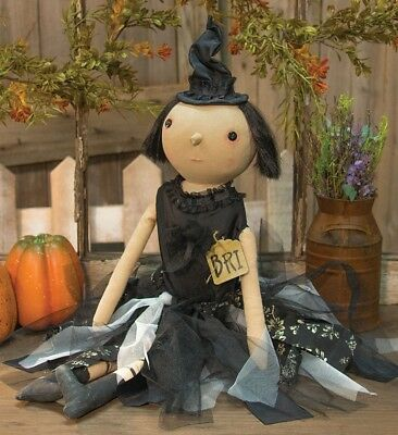 New Primitive Bri Halloween Party Witch Gothic Doll Sitting & Hanging Decoration