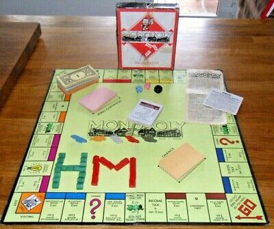 VINTAGE MONOPOLY & BOARD, METAL Game Tokens, Wooden Houses/Motels, Instructions