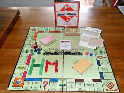 VINTAGE MONOPOLY & BOARD, Wooden Game Tokens, Wooden Houses/Motels, Instructions