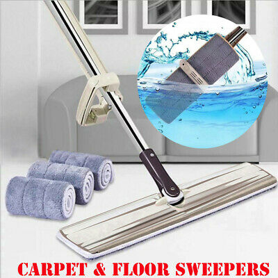 Flat Mop Hands-Free Washable Mop Home Cleaning Tool Lazy Clean Broom Kitchen AU