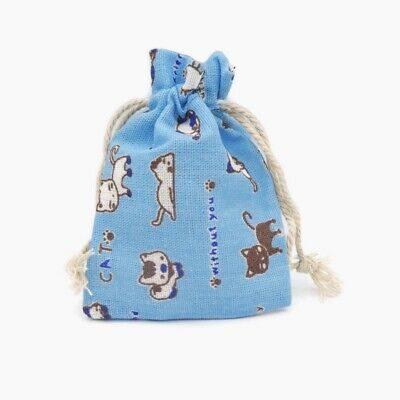 10 x Blue Cotton Canvas Cat Print 13 x 10cm Drawstring Jewellery Gift Bag Pouch