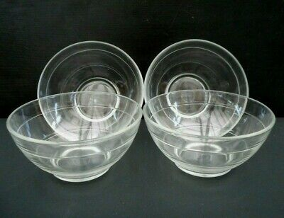 4 x vintage Duralex glass cereal / dessert bowls - 13 cms (5 inches) diameter