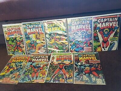 Captain Marvel comic lot 25-33 26 27 28 29 30 31 32 Thanos War bronze age GD-VF