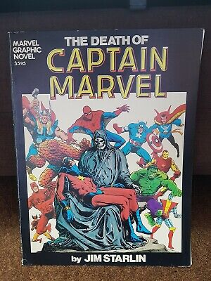 The Death Of Captain Marvel Graphic Novel 1982 1st Print Jim Starlin Thanos