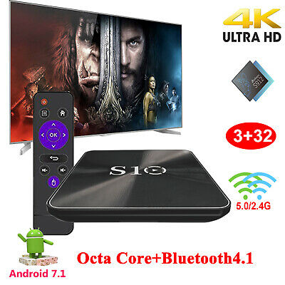 S10 3+32G 4K HD Android 7.1.2 OS Octa Core TV BOX Media Player 2.4/5G WiFi BT4.1