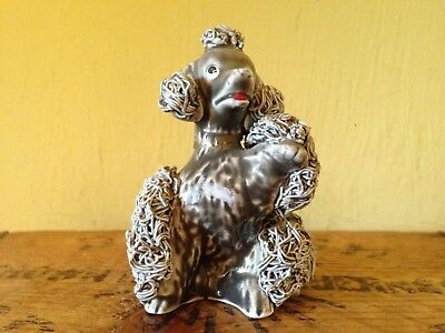 Kitsch vintage retro 60's look handmade small collectable grey china dog poodle