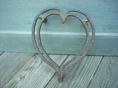 Early 19th C Hand Wrought HEART Shaped Footed Trivet Fireplace Hearth Primitive