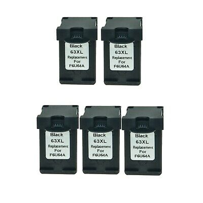 5PK Black 63XL 63 Ink For HP ENVY 4525 4526 4527 4528 DeskJet 1110 1111 1112