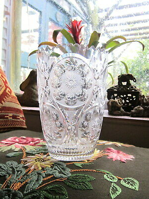 Antique Vintage Large Heavy Lead Crystal American Brilliant Cut Glass Table VASE