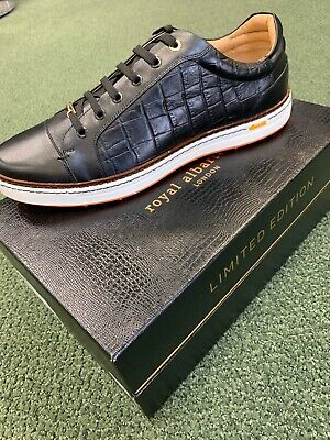 Brand New Mens Royal Albertross Golf Shoes Club Croco Black US Size 11 UK 10