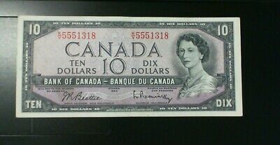1954 Bank Of Canada $10.00 Banknote Beattie Rasminsky Modified Portrait