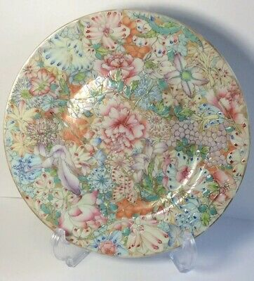Antique Chinese 19th C Famille Rose Mille Fleur Plate SEE PICS Marked Qianlong