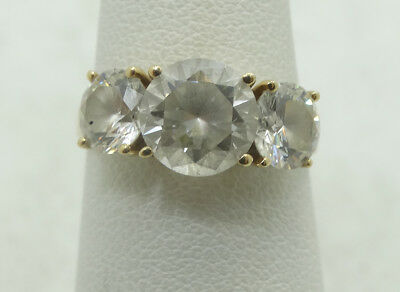 Beautiful 14K Yellow Gold 8mm & 6mm Round CZ Engagement Ring Sz 6 D730