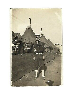 Old Vintage Antique WWI War Real Photo RPPC Postcard US Army Soldier w/ Gas Mask
