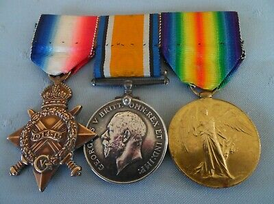 WW1 1914-15 Star, British War Medal & Victory Medal to Lieut promoted to Captain