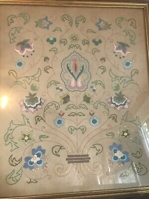 Beautiful Vintage Arts and Crafts Embroidery. Framed Vintage
