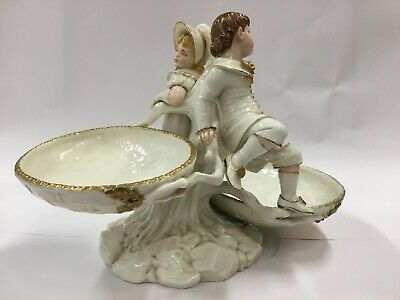 Antique Royal Worcester Double Sweetmeat Dish 1883 Boy Girl Compote Large