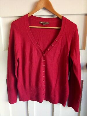 Rodney Clark Red 100% Emblem Wool V-Neck Button Women's Sweater Cardigan Size M