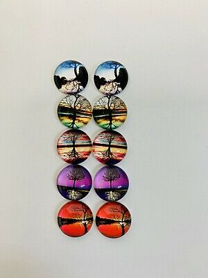 5 Pairs Of 12mm Glass Cabochons #586