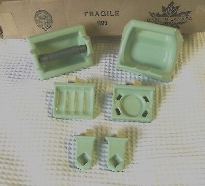 🎀 MINT GREEN 6 Pc Bathroom Set Porcelain Ceramic Recessed  - Soap Toilet Towel