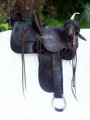 Genuine 13.5 Fred Mueller Saddle High Back Leather Vintage Horse US Western Tack