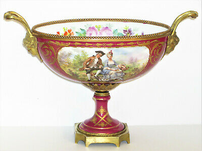 Antique Sevres Porcelain Bowl Gilt Bronze Centerpiece Signed